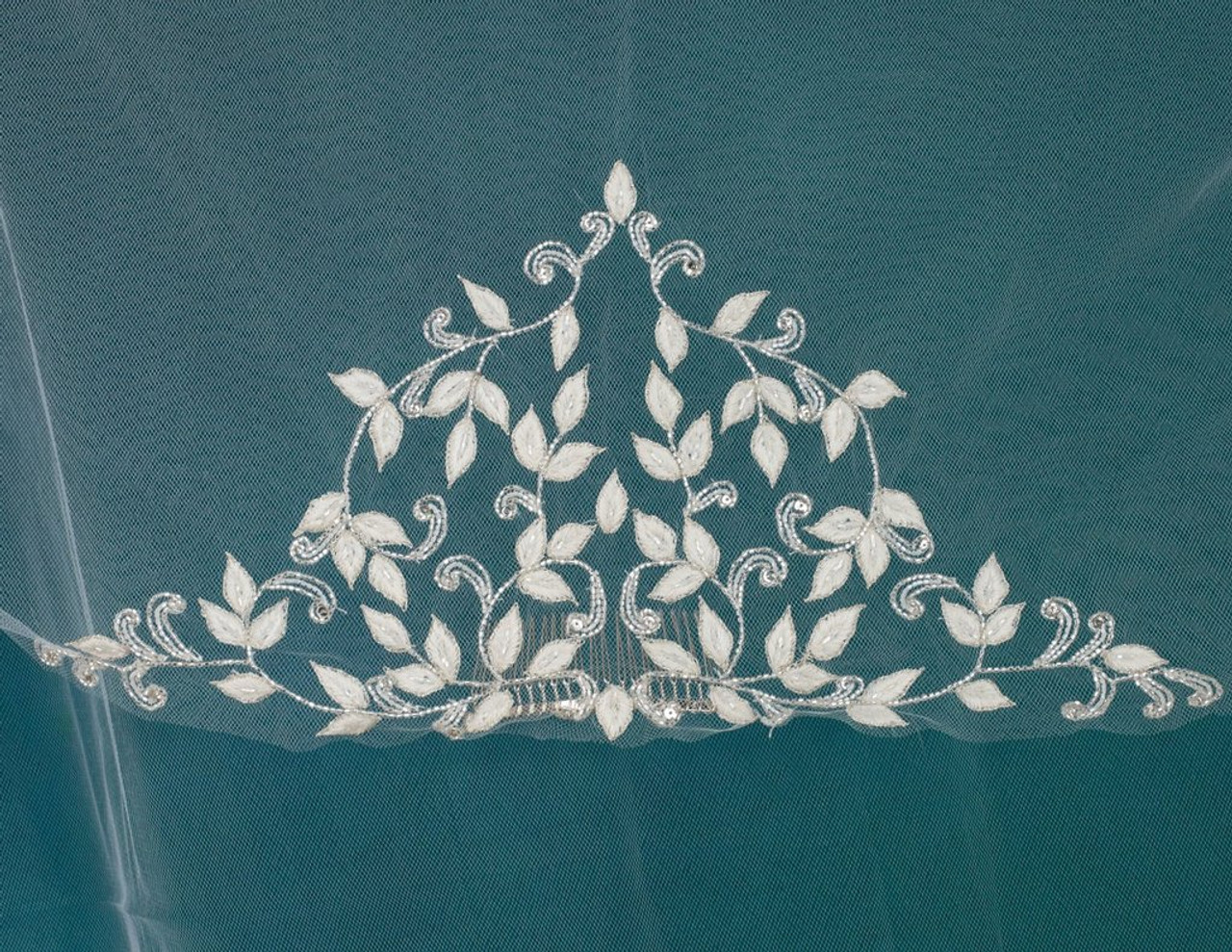 """Marionat Bridal Veils 3734 - 42"""" Pointed corners with beaded embroidery. Sewn flat to a metal comb"""