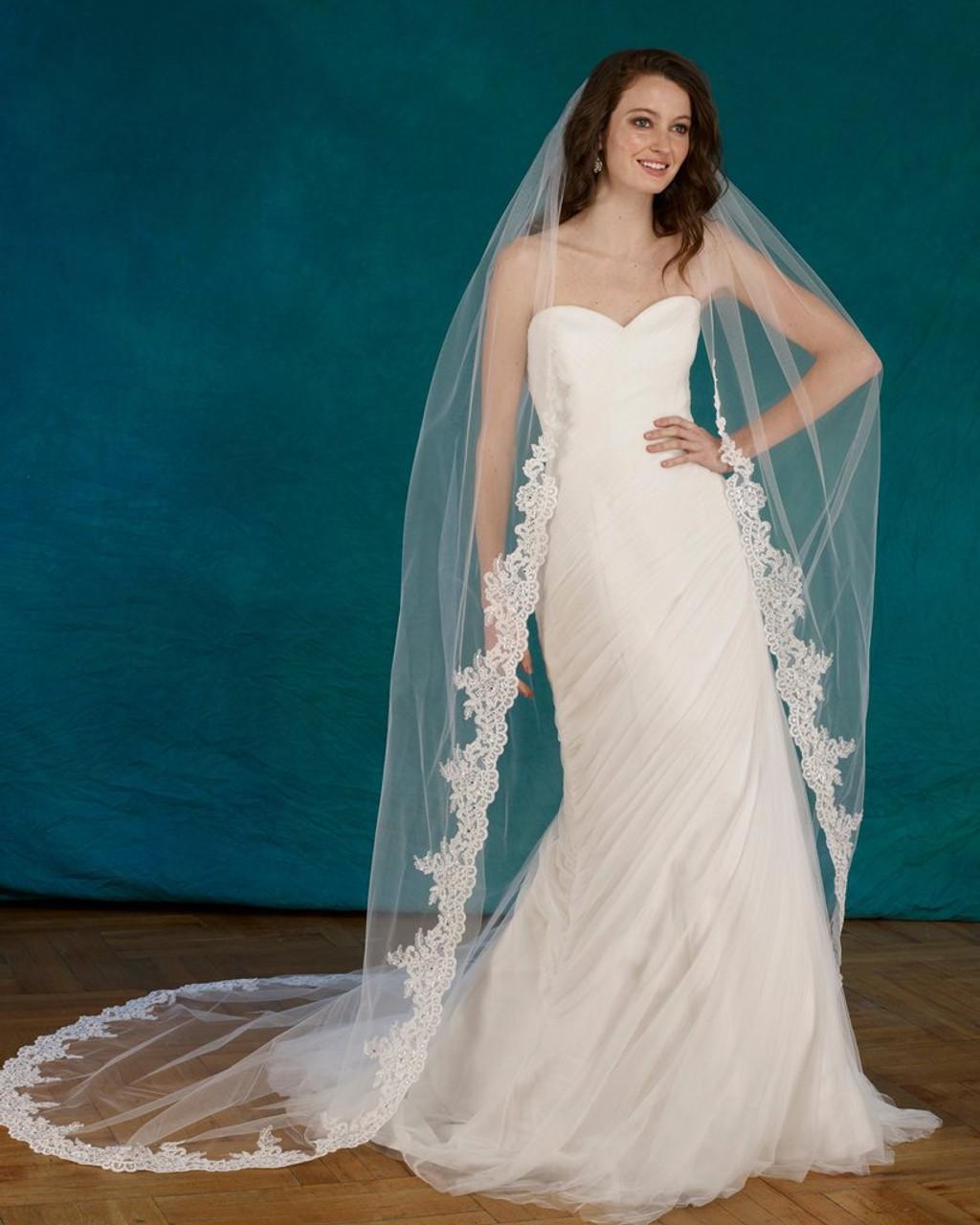 "Marionat Bridal Veils 3700 - 108"" Beaded alencon lace veil with rhinestones"