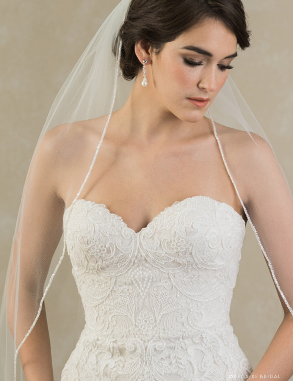 Bel Aire Bridal Veils V7383C -  Cathedral veil with frosted bead edge