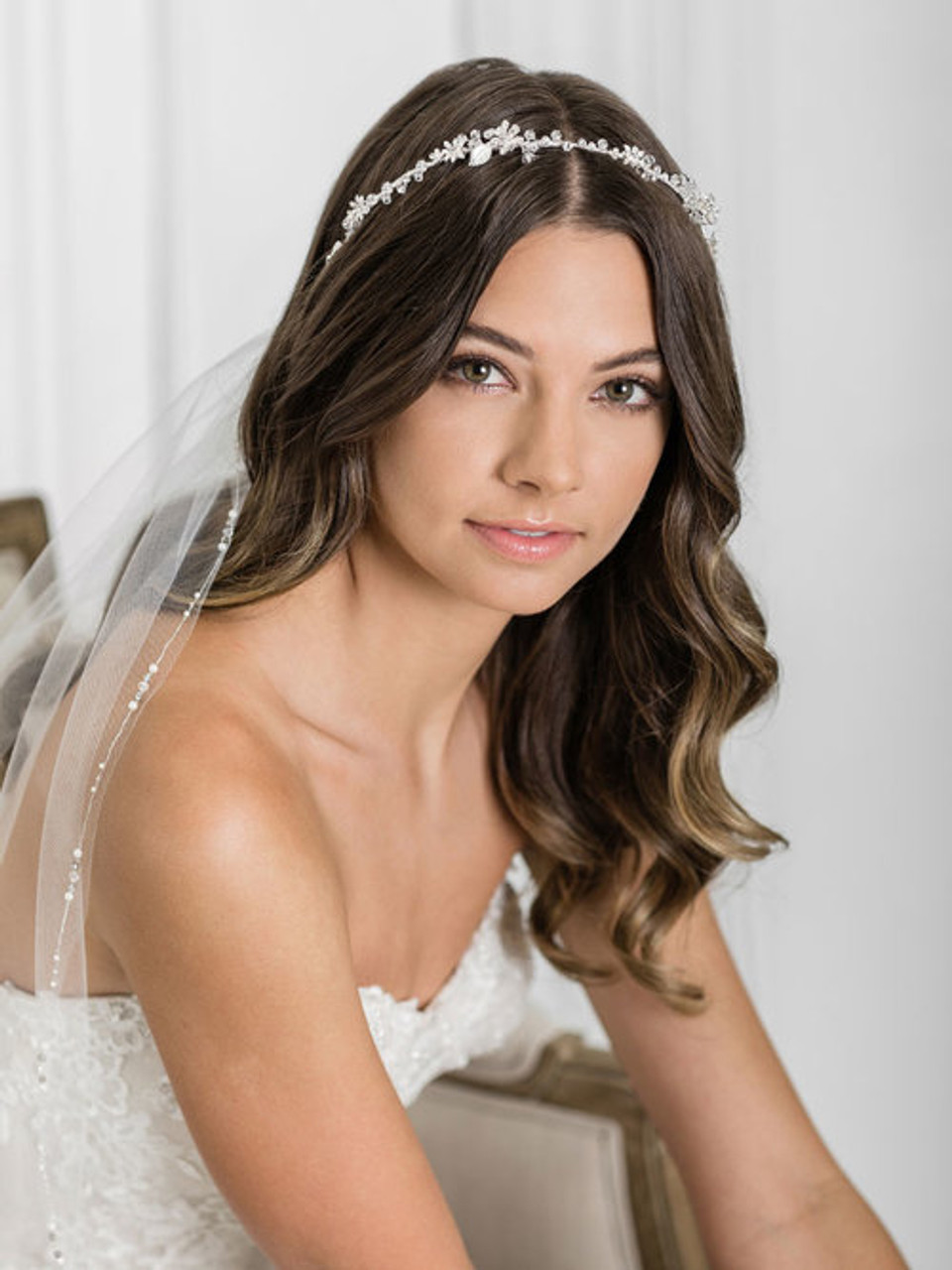 Bel Aire Bridal 6927 - Charming headband of dainty flowers and leaves accented with crystals