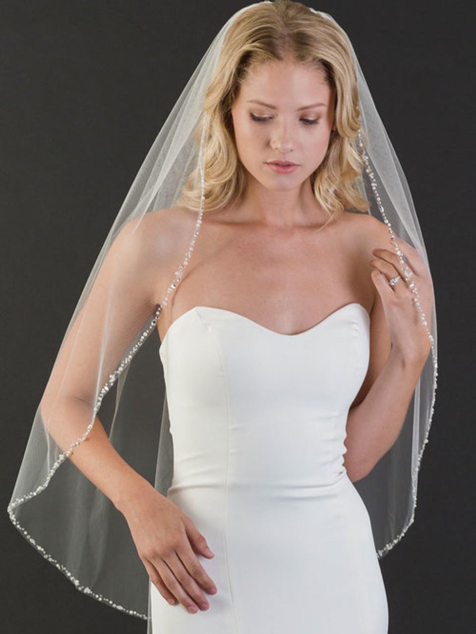 Bel Aire Bridal Veils V7456 - 1-tier fingertip veil with narrow edge of pearls, beads, and rhinestones