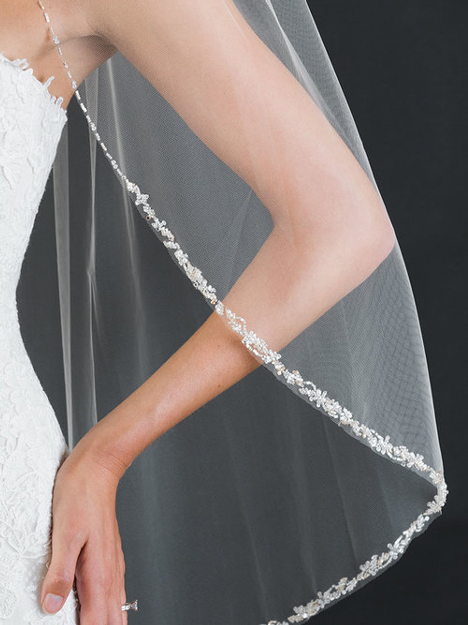 Bel Aire Bridal Veils V7461 - 1-tier fingertip veil with edge of frosted and silver bugle beads, and rhinestones