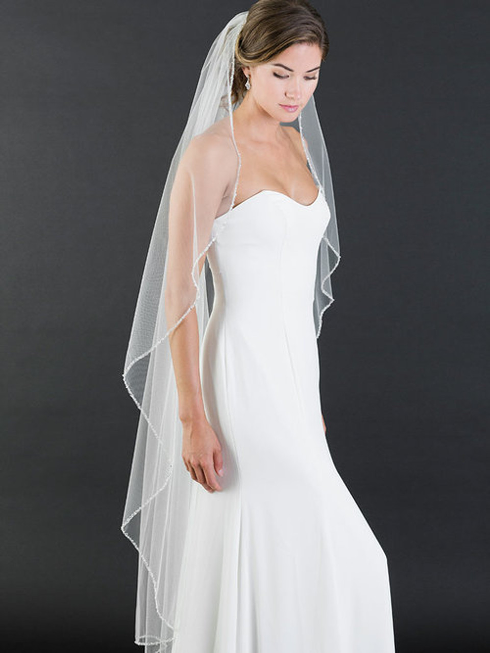 Bel Aire Bridal Veils V188   18 tier fingertip veil with edge of frosted  and silver bugle beads, and rhinestones