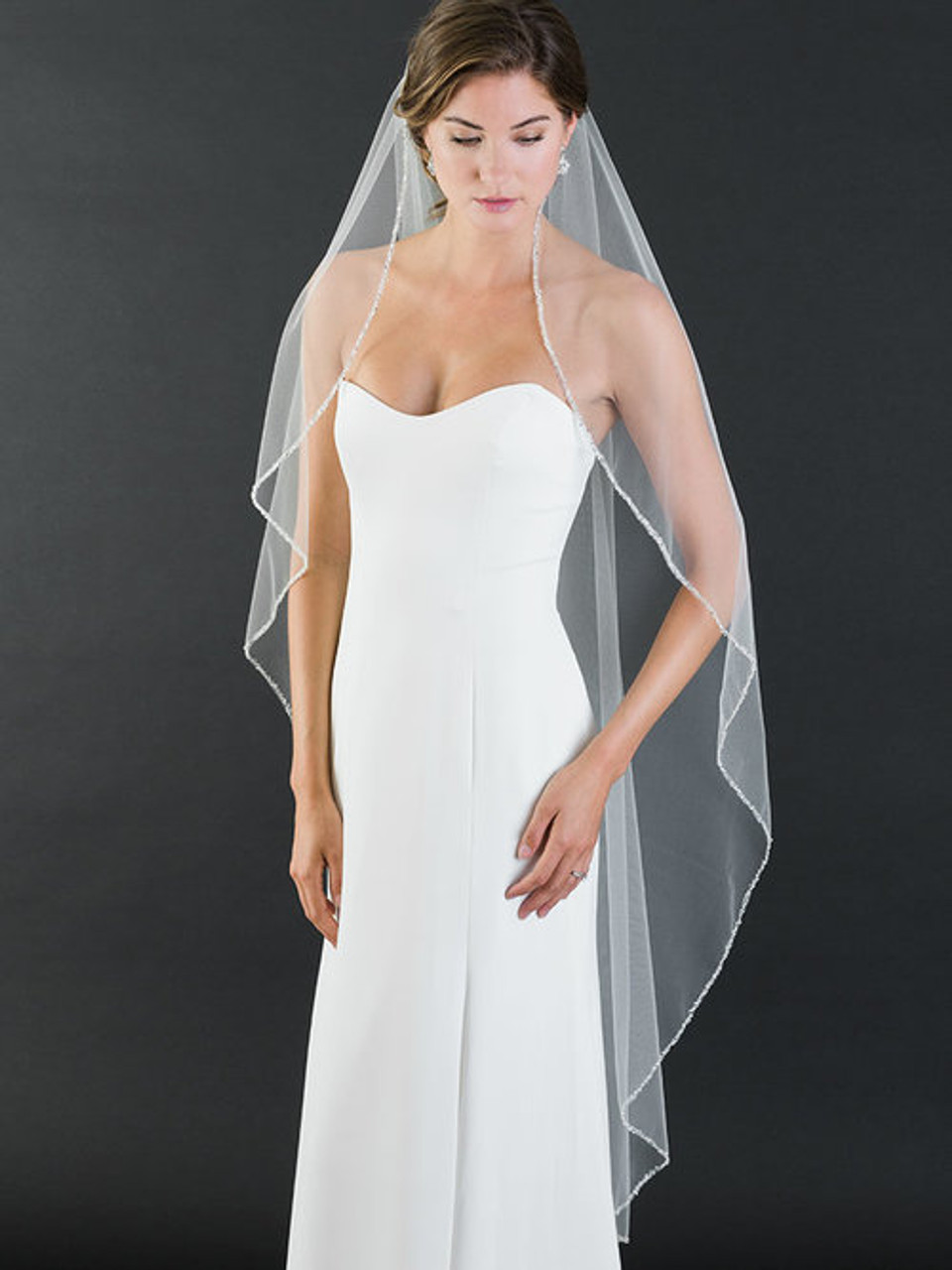 Bel Aire Bridal Veils V7464 - 1-tier fingertip veil with edge of frosted and silver bugle beads, and rhinestones