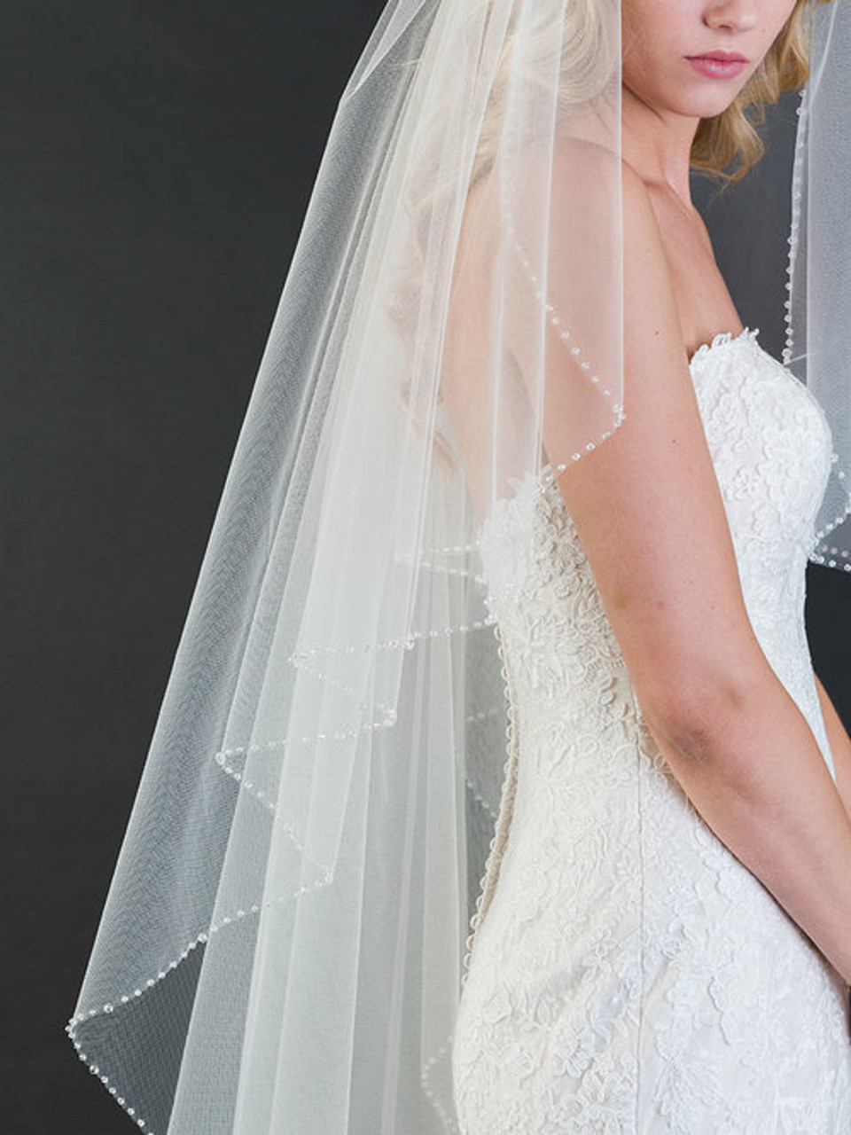 Bel Aire Bridal Veils V7468 - 1-tier waltz length cascade veil with edge of sparkling crystals