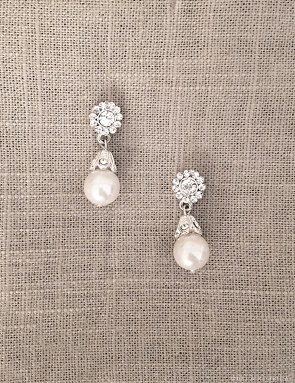 Bel Aire Bridal Earrings EA256 - Rhinestone and pearl drop earrings