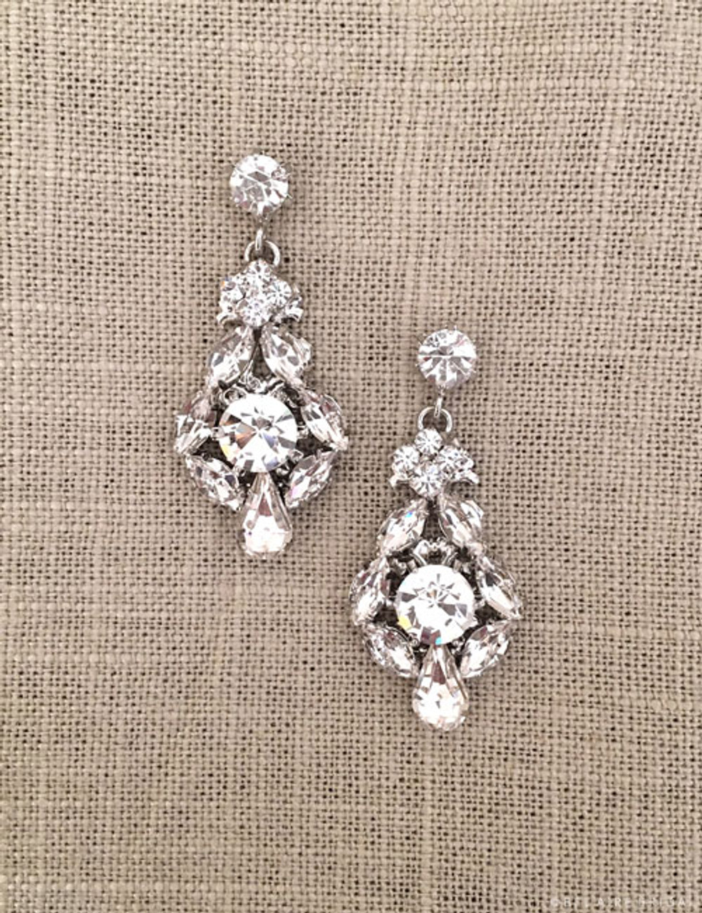 Bel Aire Bridal Earrings EA257 - Vintage-inspired drop earrings with large round stones