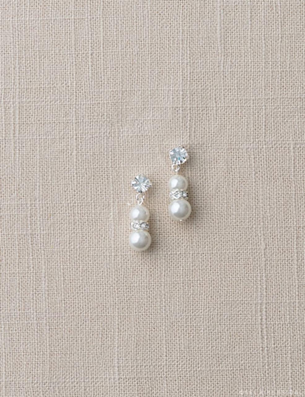 Bel Aire Bridal Earrings EA230 - Pearl and rhinestone earrings