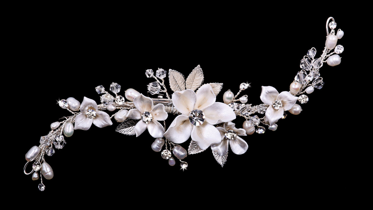 En Vogue Bridal Comb HC1937 - Rhinestone and natural pearl bead accents