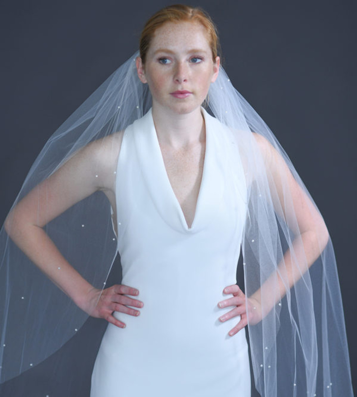 "Erica Koesler Wedding Veil 934-40 - (40"" inches long) - Cut edge veil, pearls edge on a silver comb"