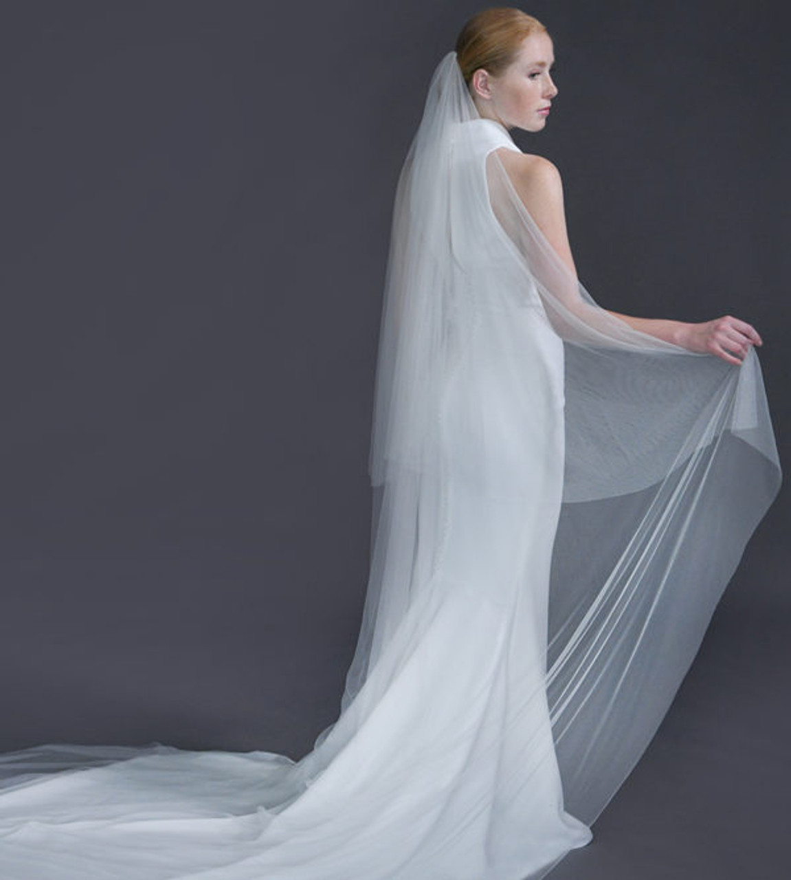 "Erica Koesler Wedding Veil 939-110 - (110"" inches long) - English net, cut edge on a silver comb"