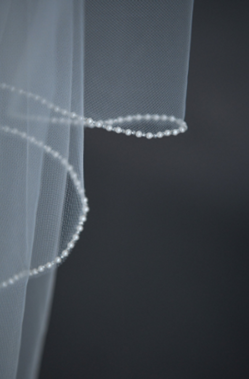 """Erica Koesler Wedding Veil 942-100 - (100"""" inches long) - Pearl & bead edge on a silver comb"""