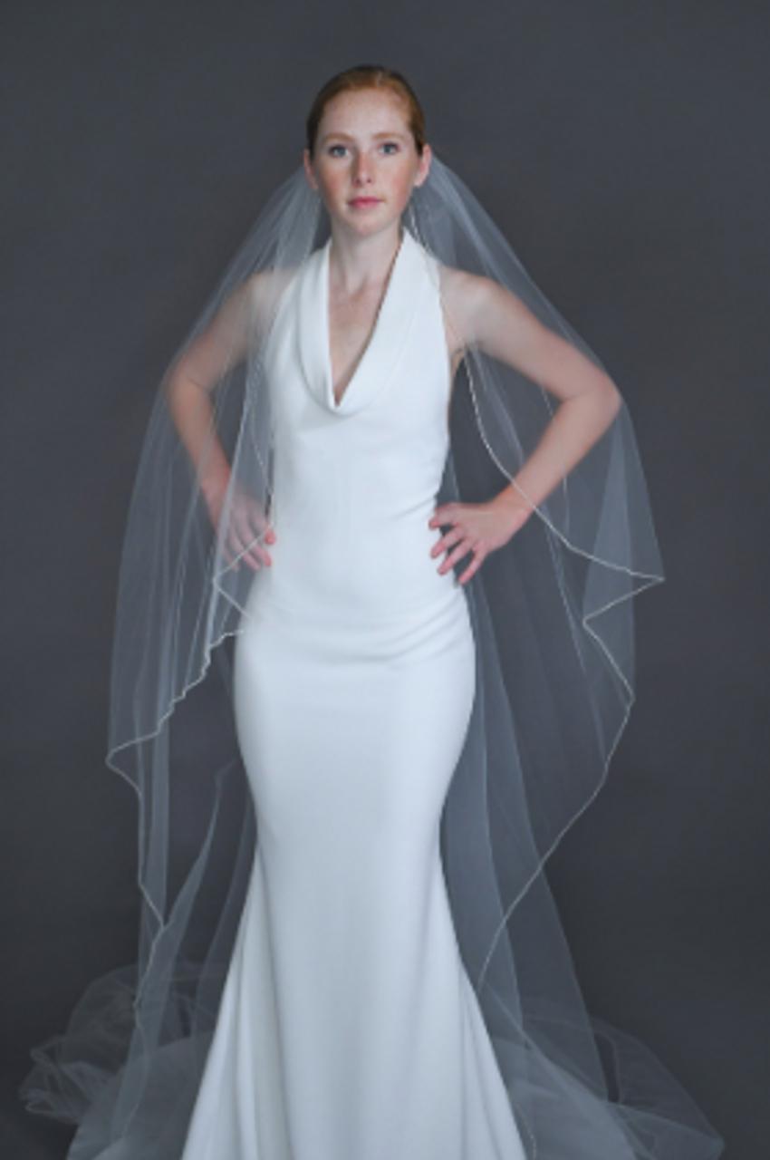"Erica Koesler Wedding Veil 945-45 - (45"" inches long) - Flutter cut, beaded edge, seed beads & metal comb"