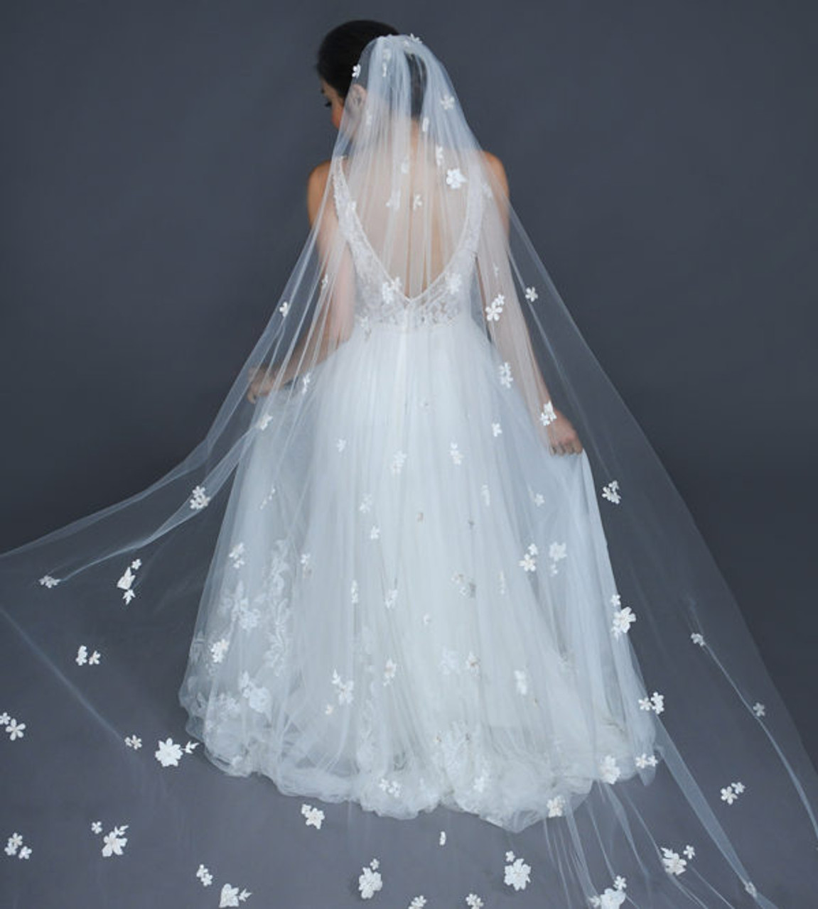 """Erica Koesler Wedding Veil 946-100 - (100"""" inches long) - Floral appliques, accented rhinestone flowers"""
