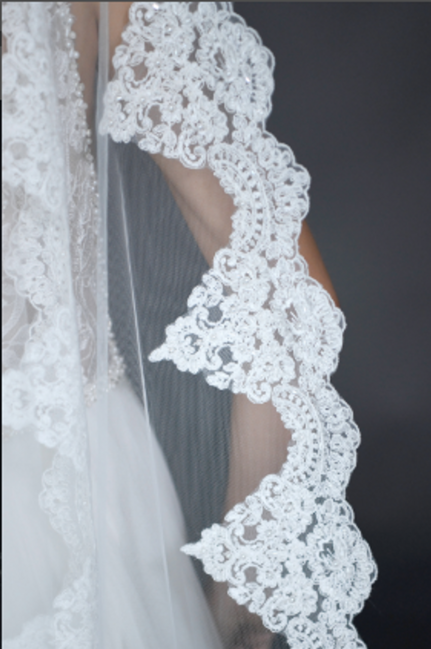 """Erica Koesler Wedding Veil 951-110 - (110"""" inches long) - Single tier, scalloped beaded, floral lace"""