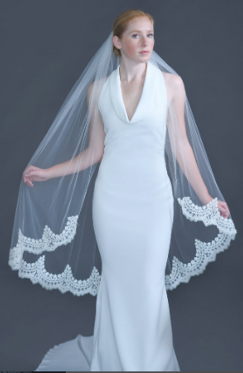 "Erica Koesler Wedding Veil 956-45 - (45"" inches long) - Scalloped beaded lace edge on a silver comb"