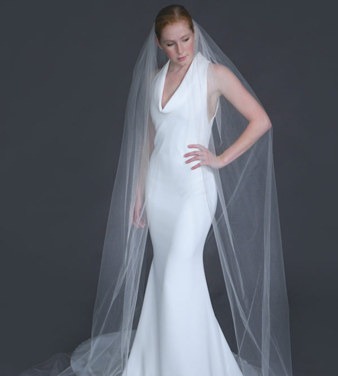 "Erica Koesler Wedding Veil 957-100 - (100"" inches long) - Cut edge shimmer tulle single tier"