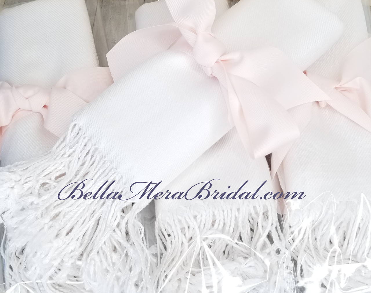White with Blush Grosgrain - Wedding Pashminas - Bridesmaid Pashminas - Bride Pashminas - Pashmina Scarves