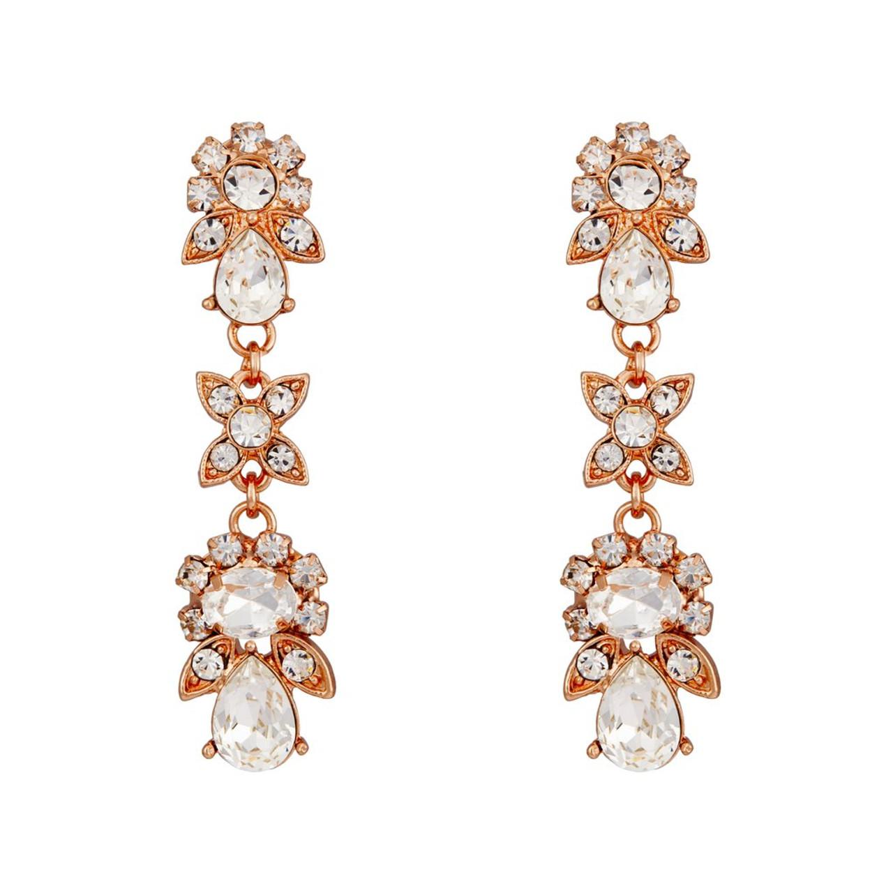 Marionat Bridal Jewelry 12490 Rose gold rhinestone earrings