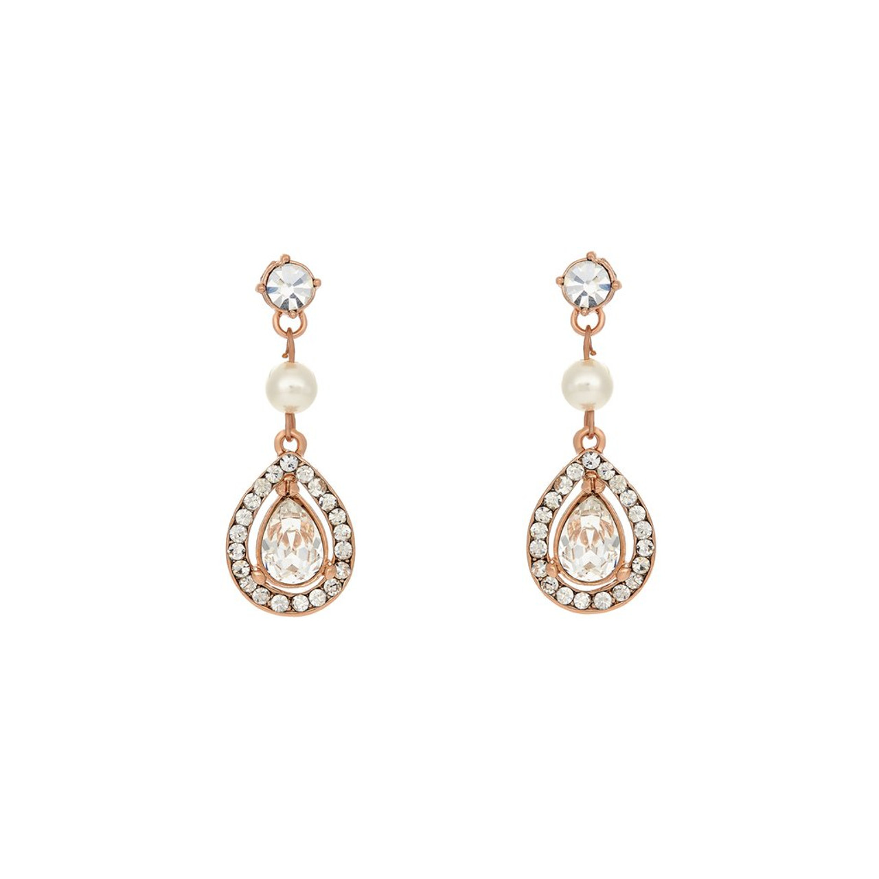 Marionat Bridal Jewelry 12493 Rose gold rhinestone earrings with a pearl