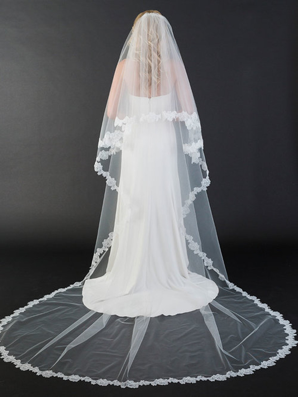 "Bel Aire Bridal Veils V7441C - 108"" Inches - Foldover cathedral veil with soft Chantilly lace"