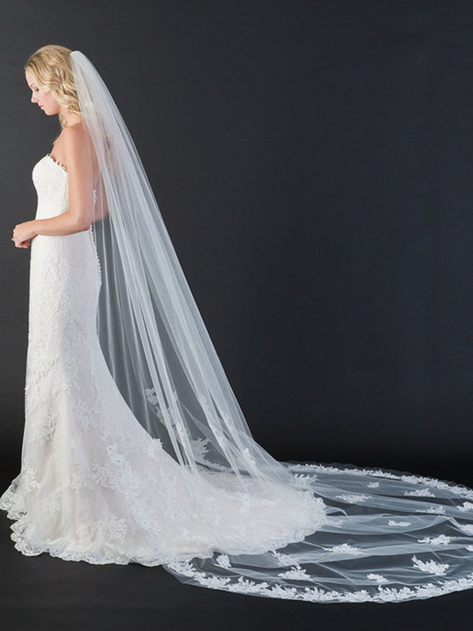 "Bel Aire Bridal Veils V7445C - 108"" Inches - cut edge cathedral veil with lace and scattered appliqués"