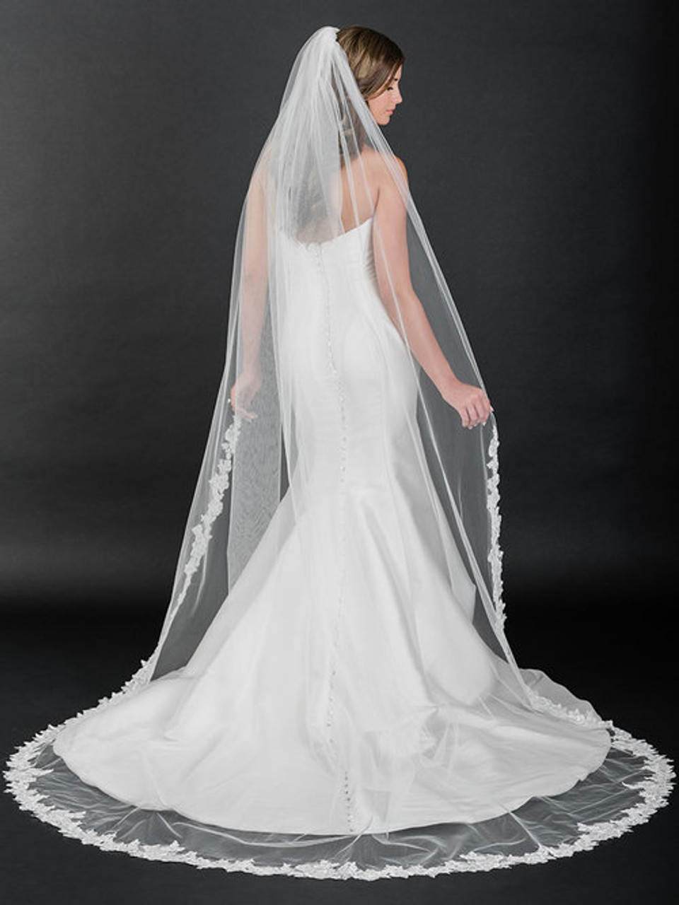 """Bel Aire Bridal Veils V7510C - 108"""" Inches - rolled edge and sequin lace"""
