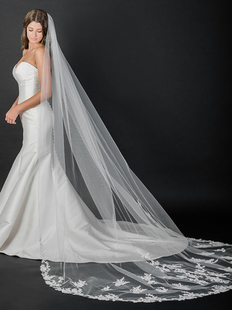 Bel Aire Bridal Veils V7525C - Cathedral veil with rolled edge and Alençon lace and appliqués