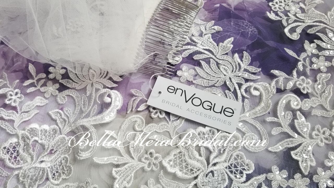 "En Vogue Bridal Cathedral Style V2099RC - Sequin Lace - 120"" Long"