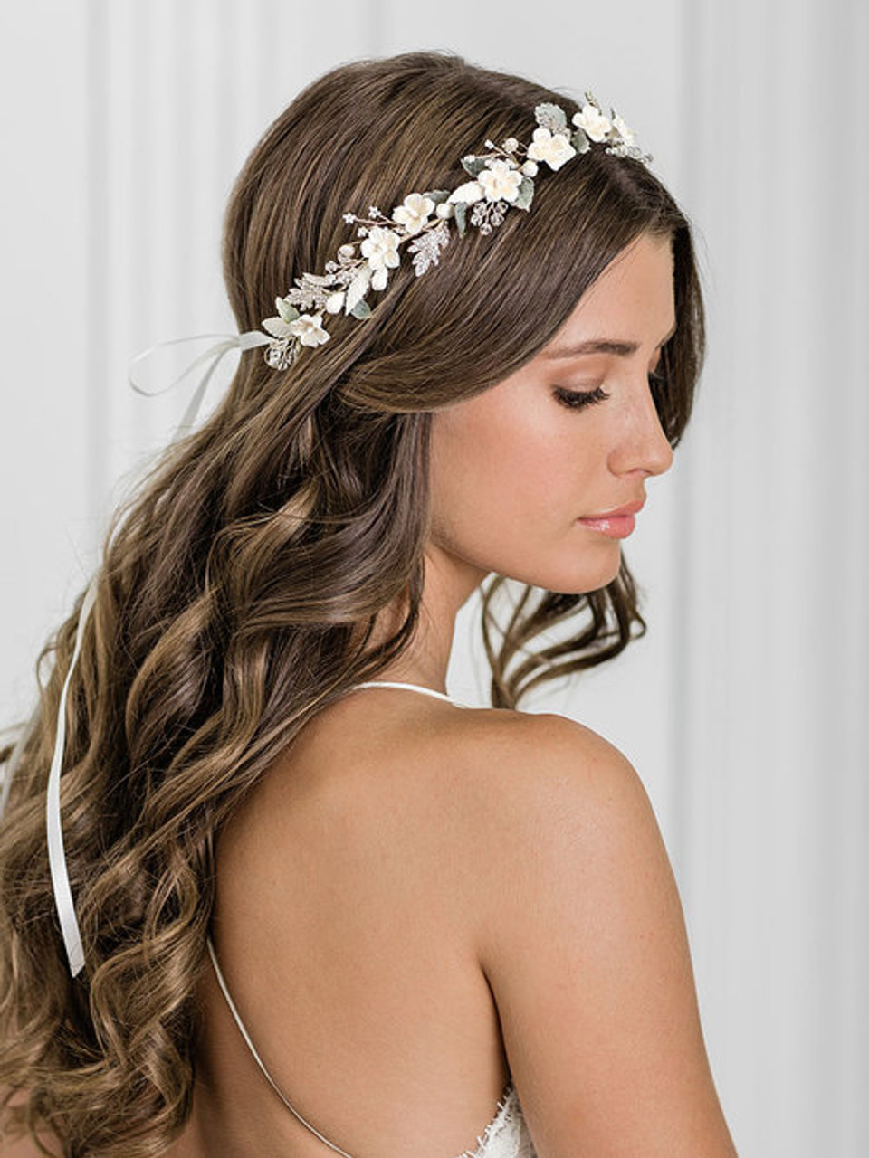 Bel Aire Bridal 6944 Nature-inspired garland of clay flowers, green leaves, and sprays