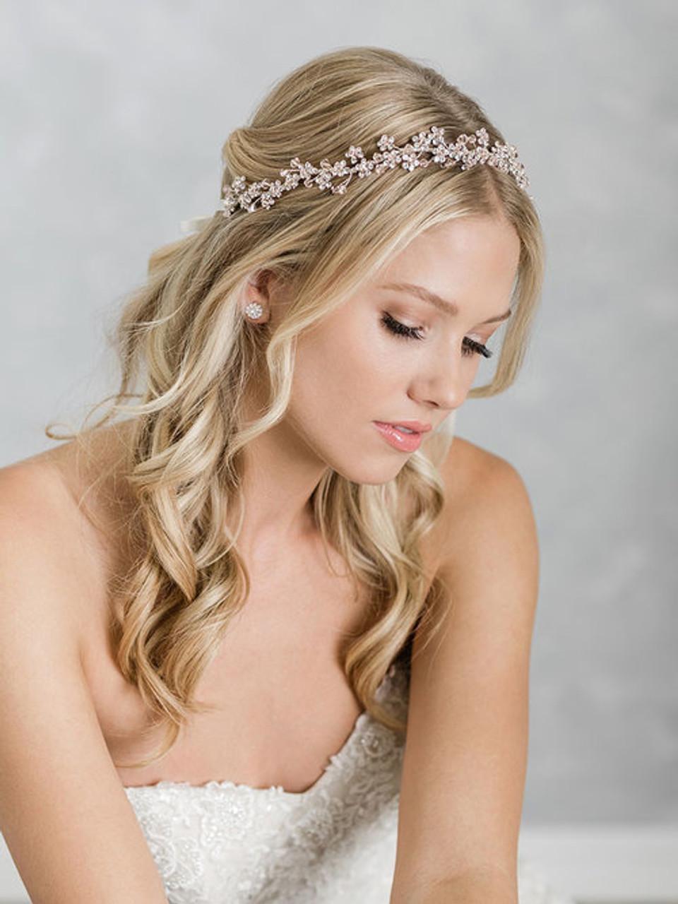 Bel Aire Bridal 6924 Garland with Swarovski crystal flowers