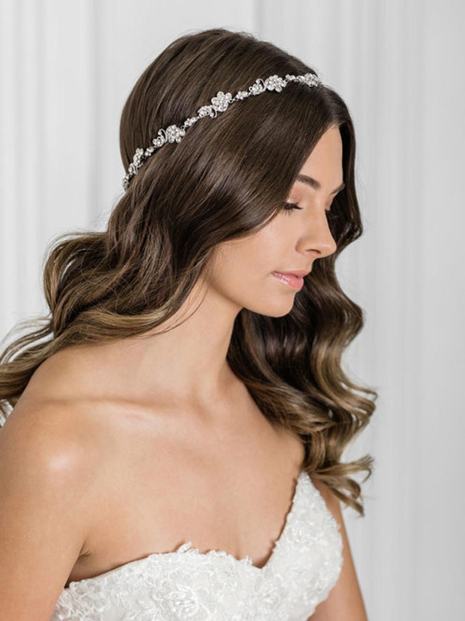 Bel Aire Bridal 6910 halo with rhinestone motifs