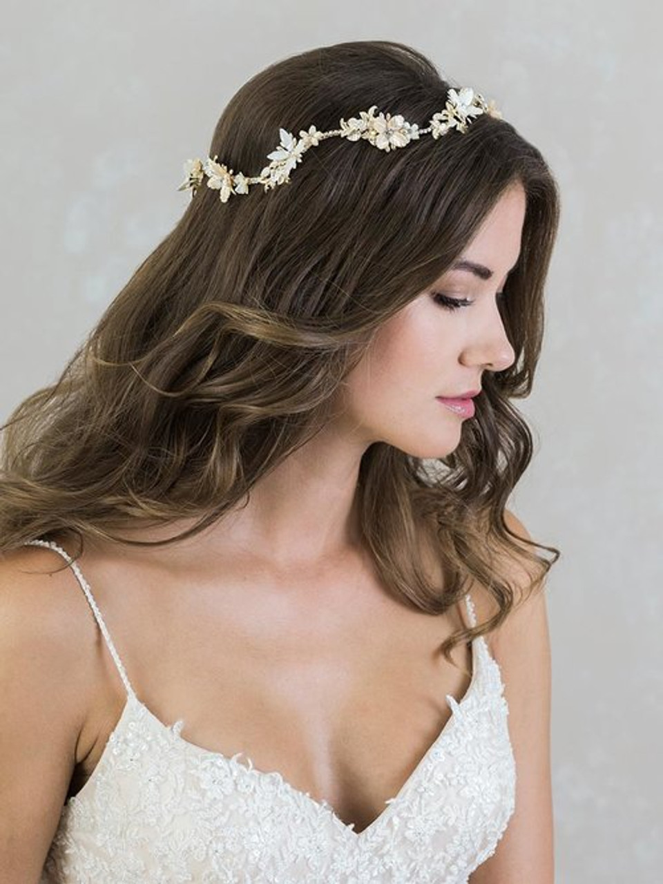 Bel Aire Bridal 6810 halo mother-of-pearl flowers and rhinestones