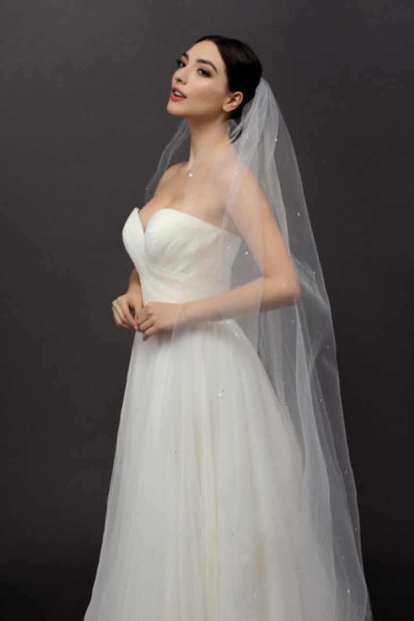 Ansonia Bridal Veil Style 122L- Crystal Scatter - 120 Inches Long