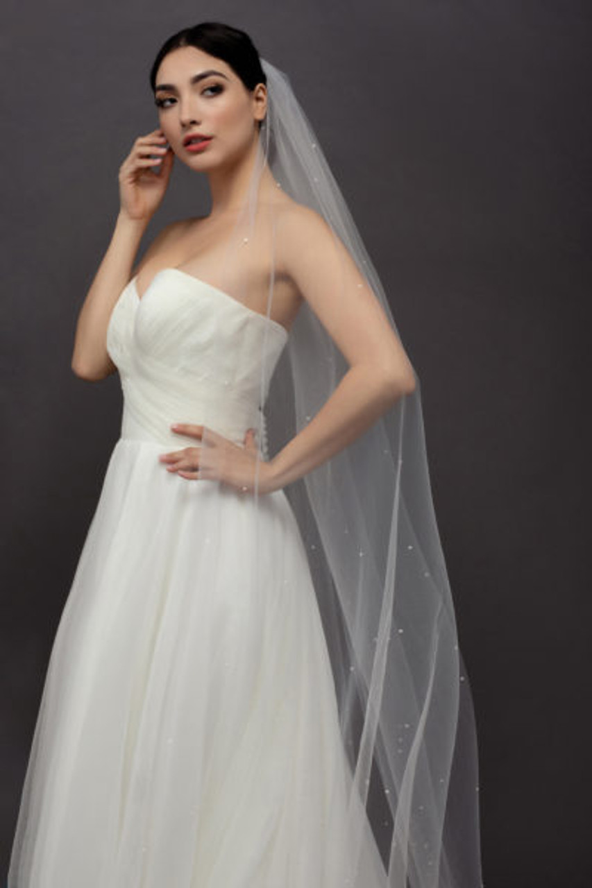 Ansonia Bridal Veil Style 126 - Pearl Scatter - 120 Inches Long
