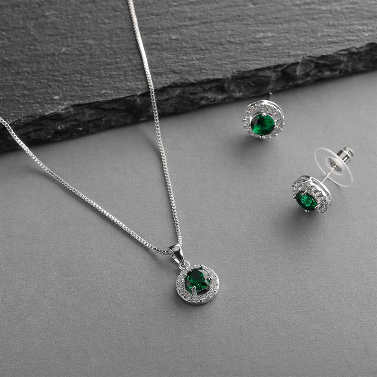Mariell Cubic Zirconia Round Shape Halo Necklace and Stud Earrings Set - Emerald 4552S-EM