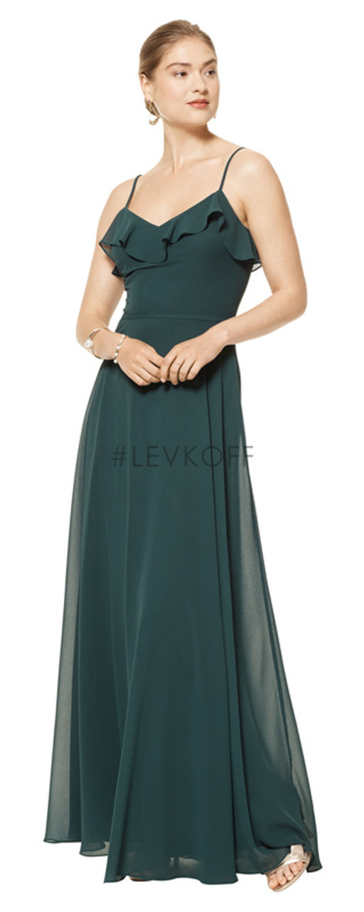 #LEVKOFF 7103 - Chiffon - Sample Dress to Try On - Size 14 - Evergreen