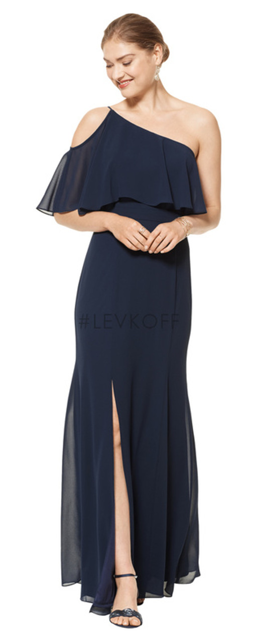 #LEVKOFF 7104 - Chiffon - Sample Dress to Try On - Size 8 - Navy
