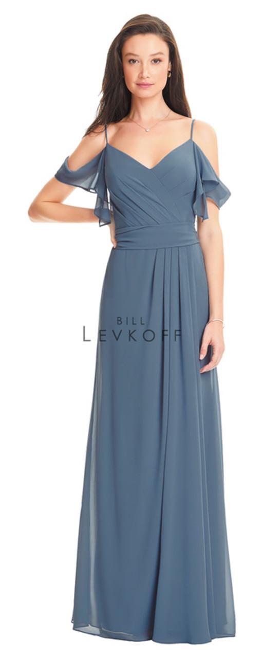 Bill Levkoff Dress 1550 - Chiffon - Sample Dress to Try On - Size 10 - Slate