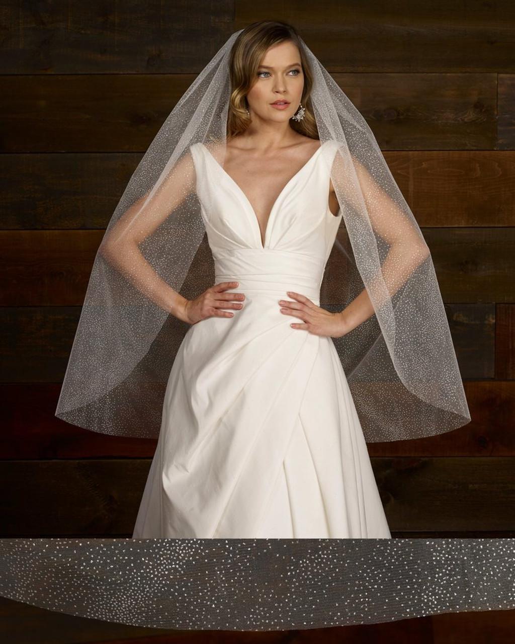"""Marionat Bridal Veils 3770F - 3770F - 60""""x42"""" - Shimmer Glitter Veil"""