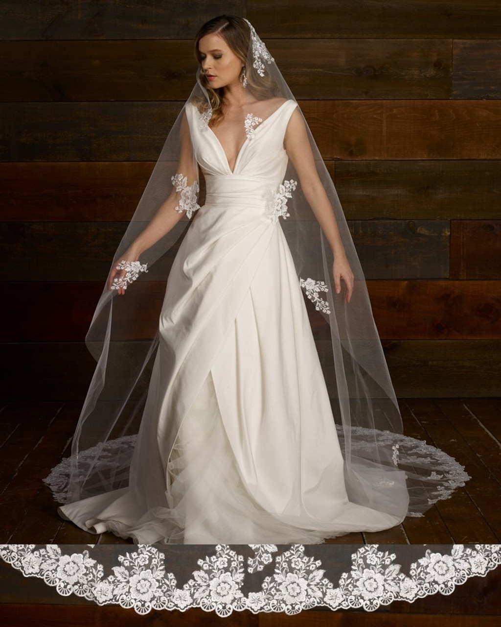 "Marionat Bridal Veils  3787 - 120"" Long  - Beaded lace mantilla with lace appliques"