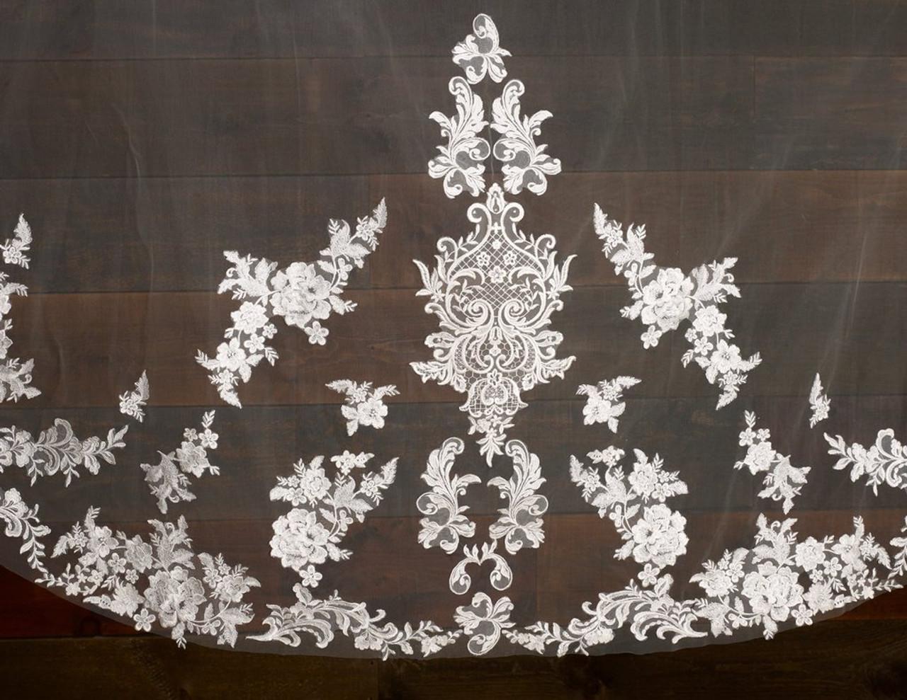"Marionat Bridal Veils 3788 - 120"" Angel cut beaded lace veil with center appliqués, lace starts 14"" down"