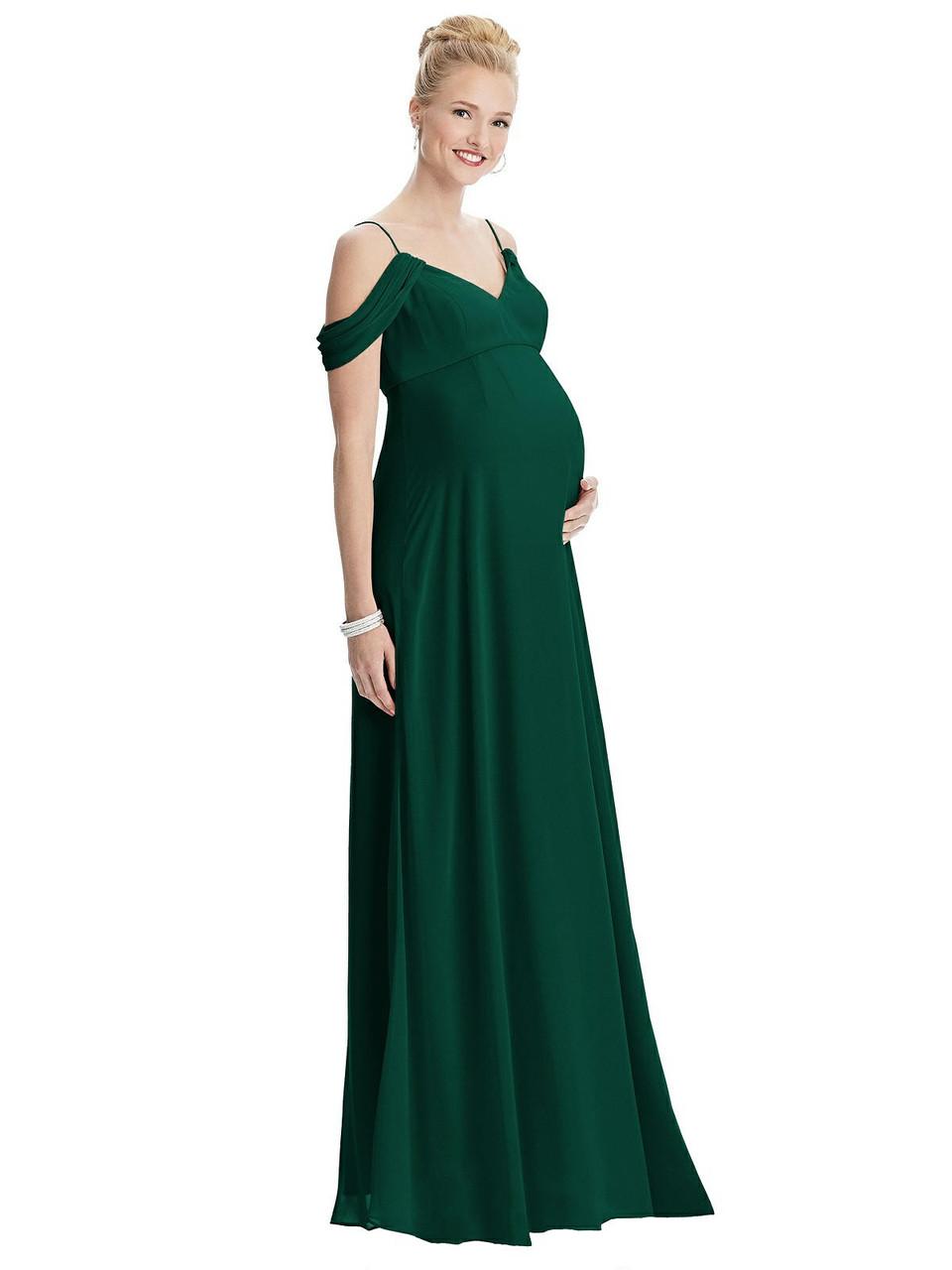 Maternity Style M442  |  Lux Chiffon - Draped Cold-Shoulder Chiffon Maternity Dress