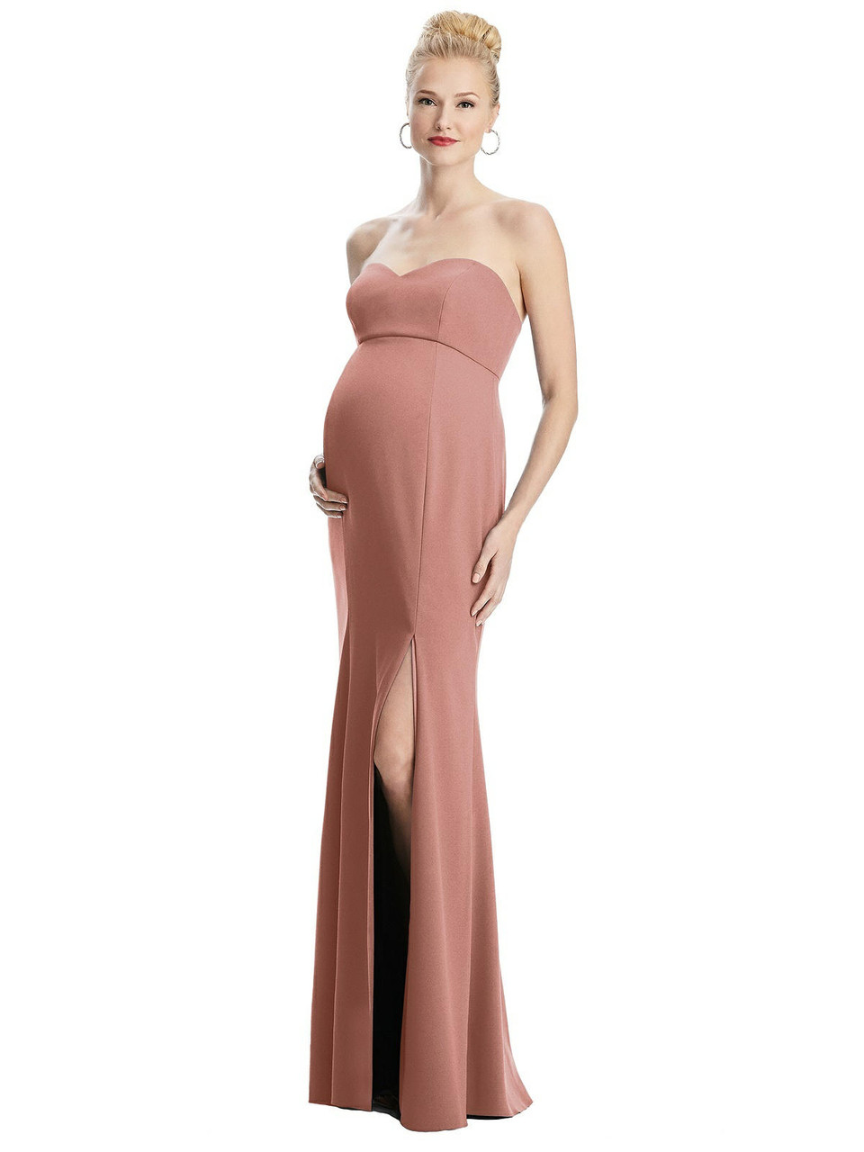 Maternity Style M440  |  Crepe - Strapless Crepe Maternity Dress with Trumpet Skirt