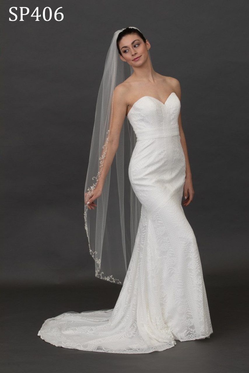 """Giselle Bridal Veil Style SP406 - Floral Beaded Edge - 60"""" Inches Long"""