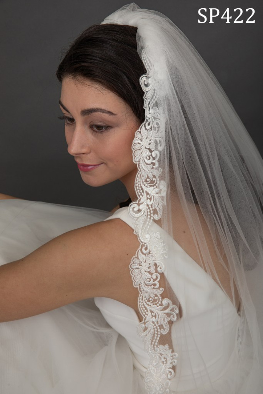 Giselle Bridal Veil Style SP422 - Sequin Beaded Lace - 120 Inches Long