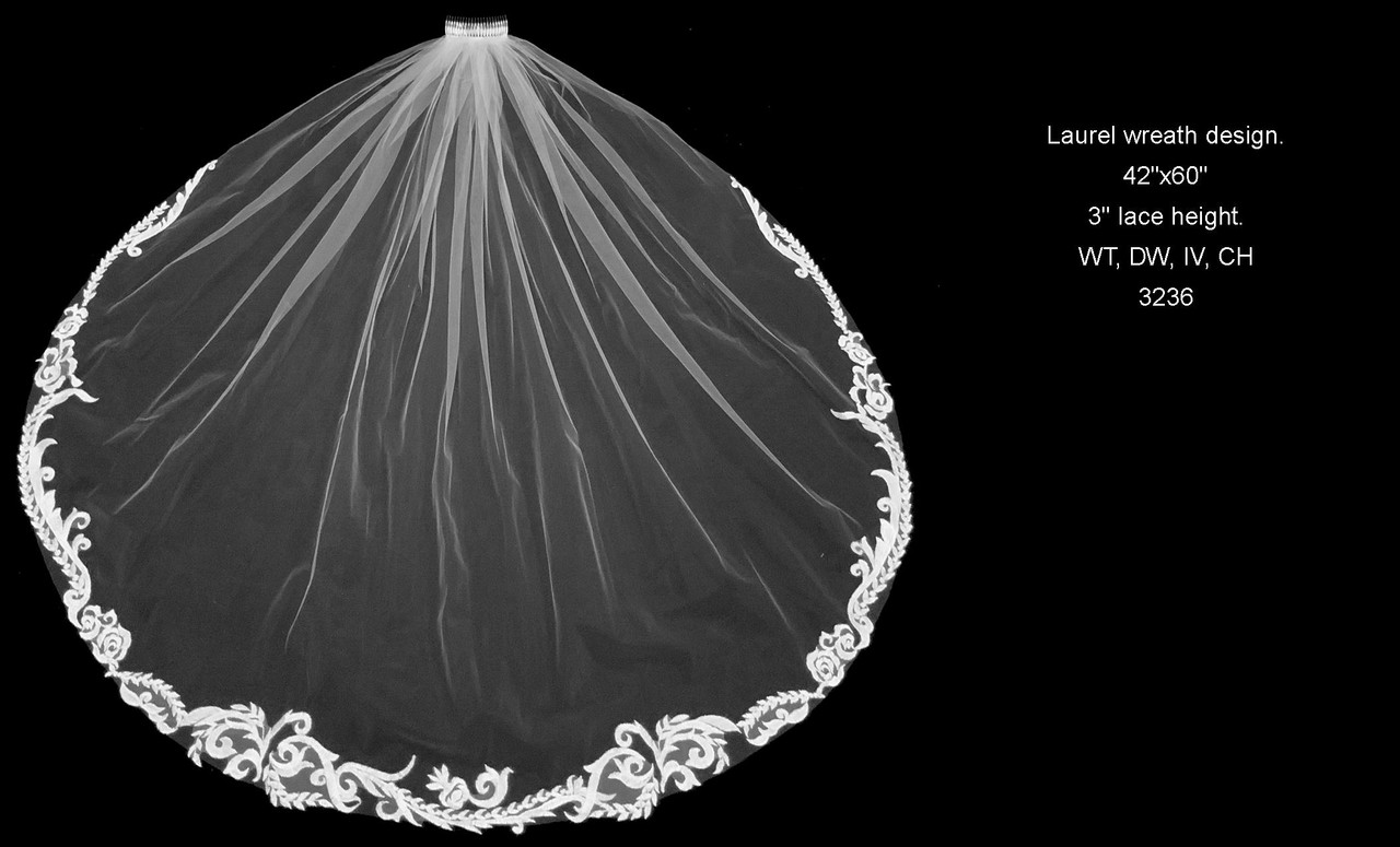 """Baroque Lace Fingertip Veil - FC 3236 - 42"""" Inches - Quick Ship"""