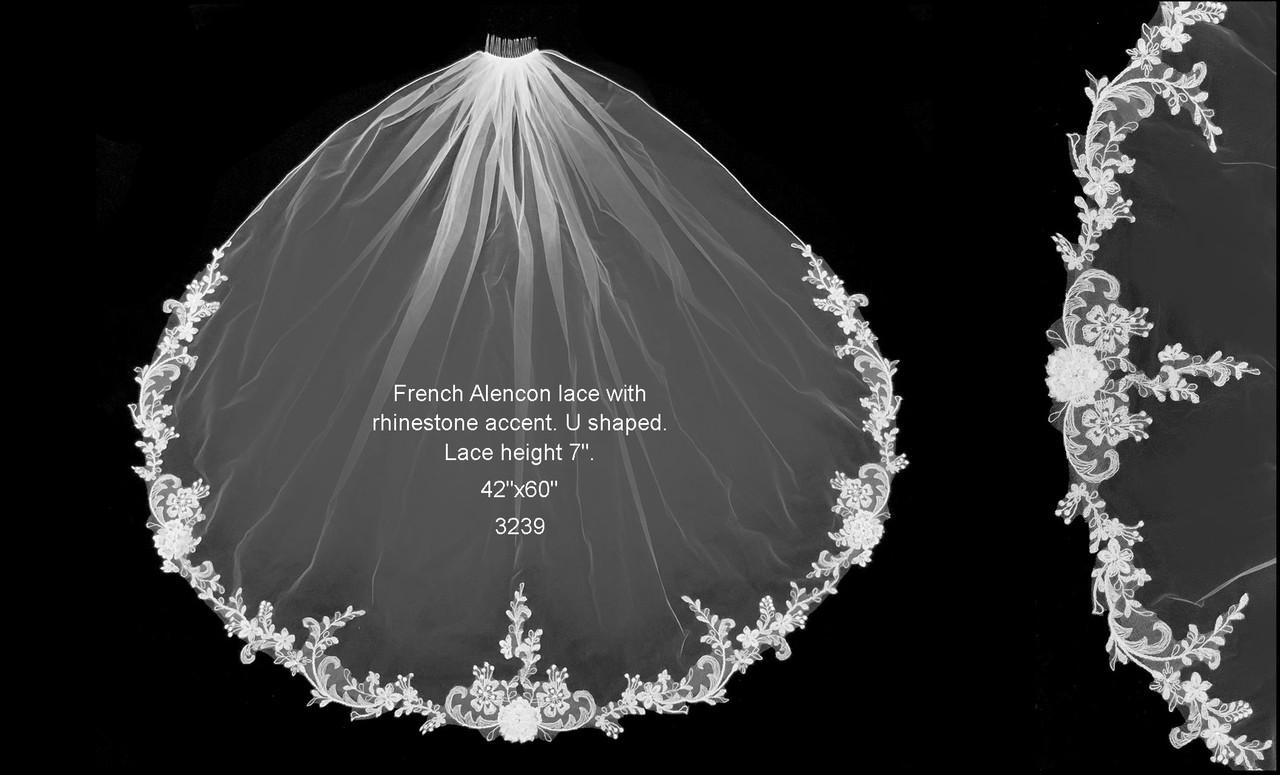French Alencon Lace Edge Veil w/Rhinestone Accents - FC 3239 - 42 Inches Long