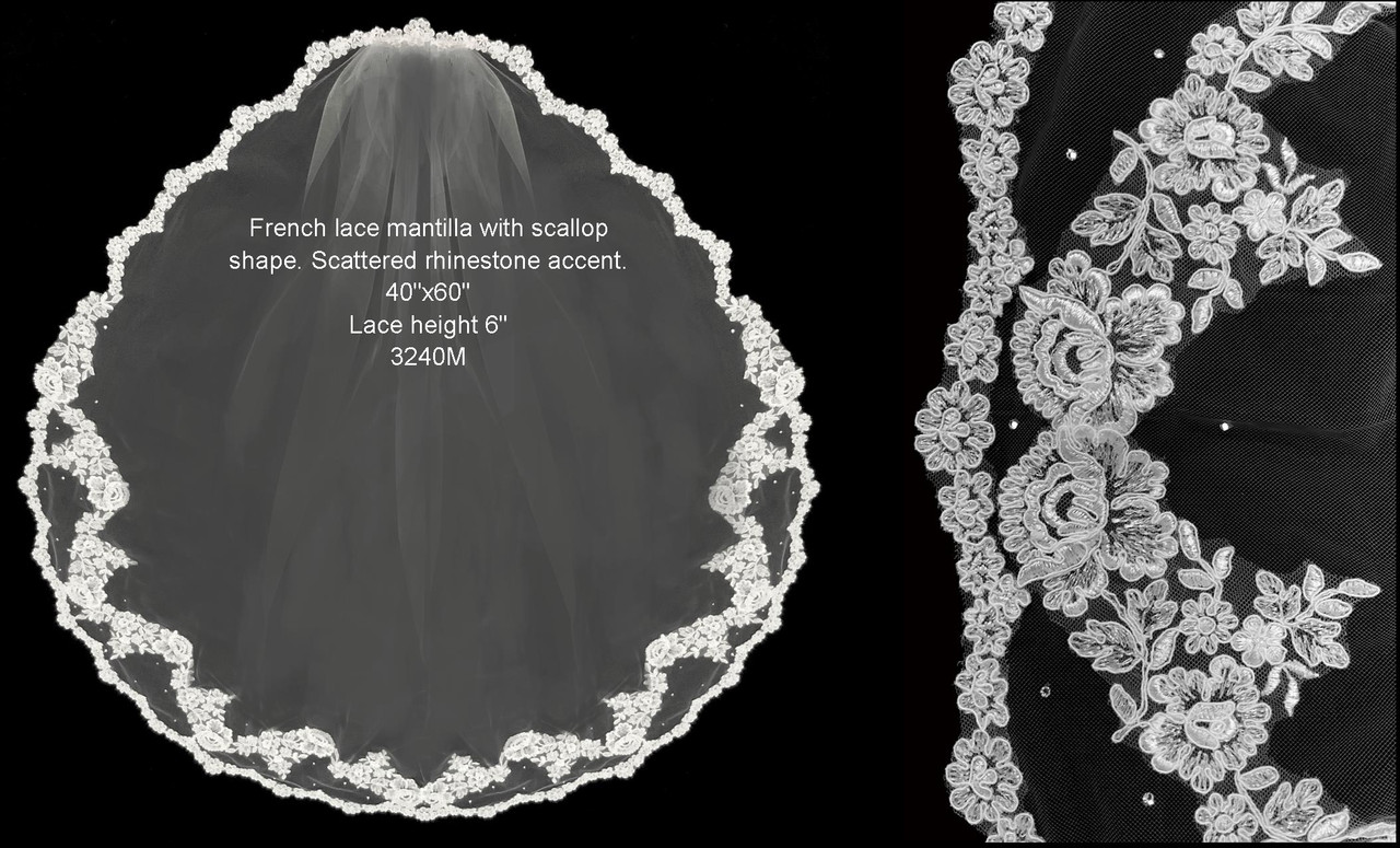 "French Lace Mantilla with a Scallop Edge & Stones -  FC 3240 - 40"" Inches"