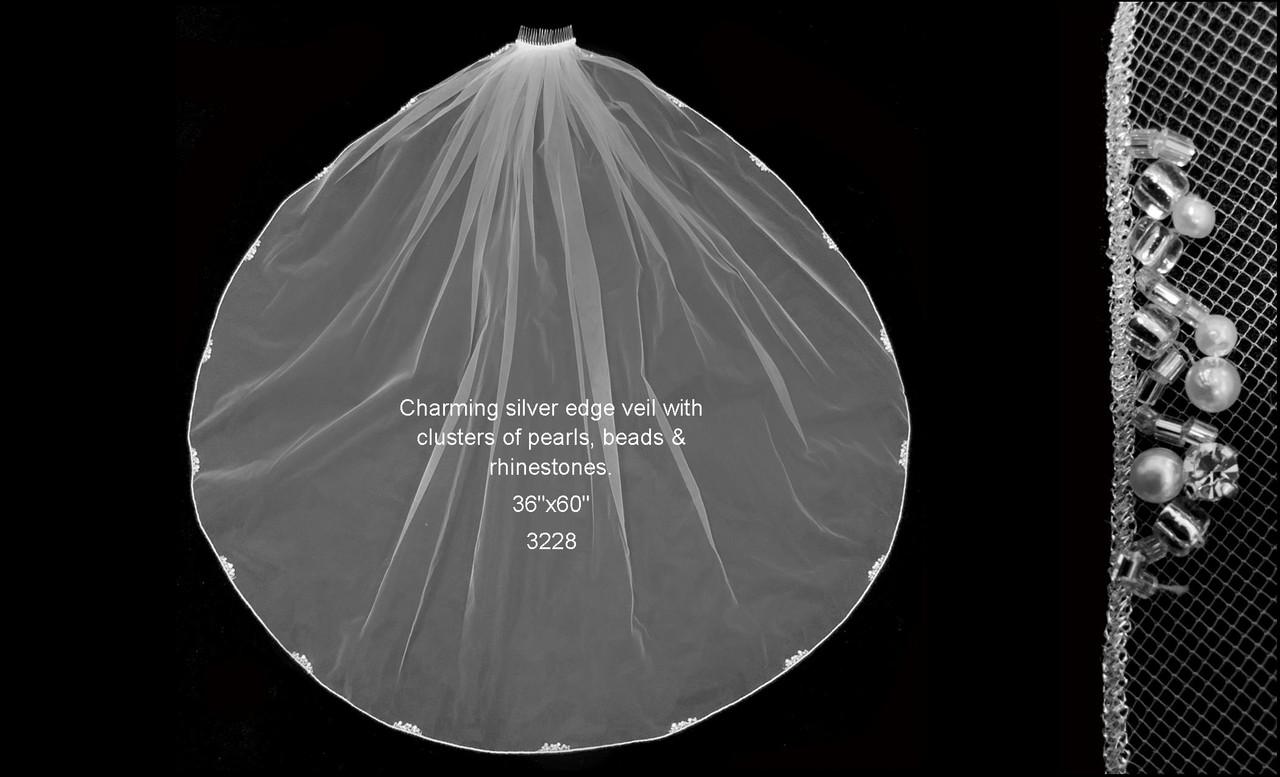 "Pearl Beaded Rhinestone Clustered Veil - FC 3228 - 36"" Inches"